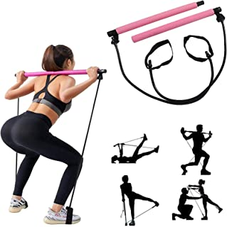Gelma Pilates Bar Kits with Resistance Band Yoga Exercise Bar with Anti-Slip Foot Loop Yoga Exercise Pilates Bar Portable ...