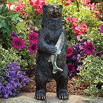 Bits and Pieces - Bear Motion Sensor Statue - Weather Resistant, Hand-Painted Polyresin Sculpture - Garden Decoration