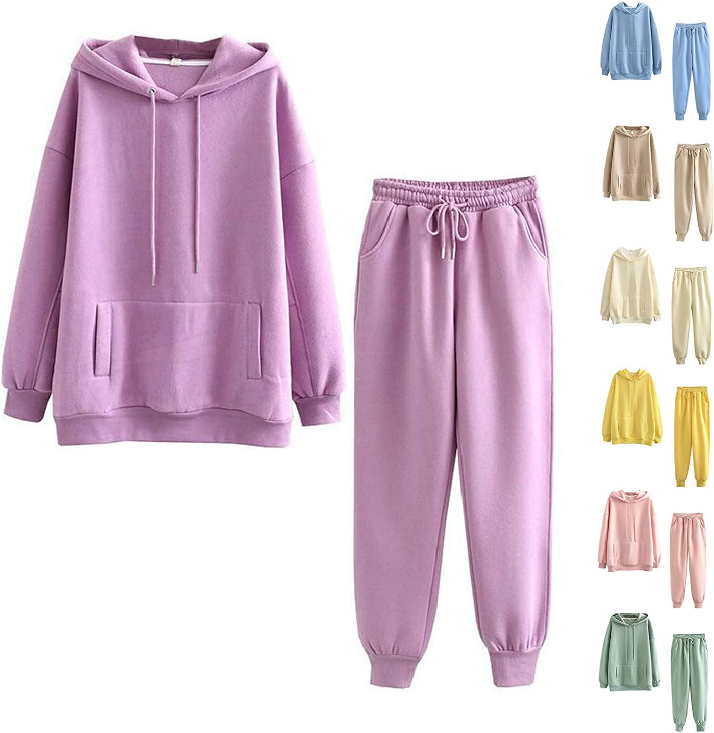 Women's Casual Sweatsuit San Antonio Mall Two Piece H Outfits Color Pockets Max 62% OFF Solid