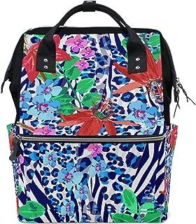 ALIREA Blue Zebra And Red Flowers Pattern Diaper Bag Backpack, Large Capacity Muti-Function Travel Backpack