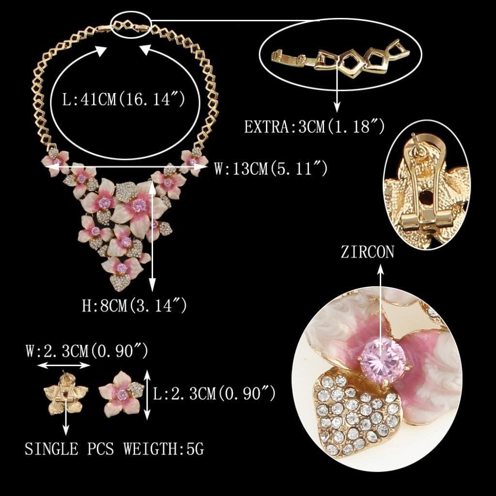 EVER FAITH Women's Austrian Crystal Enamel Camellia Flower Necklace Earrings Set