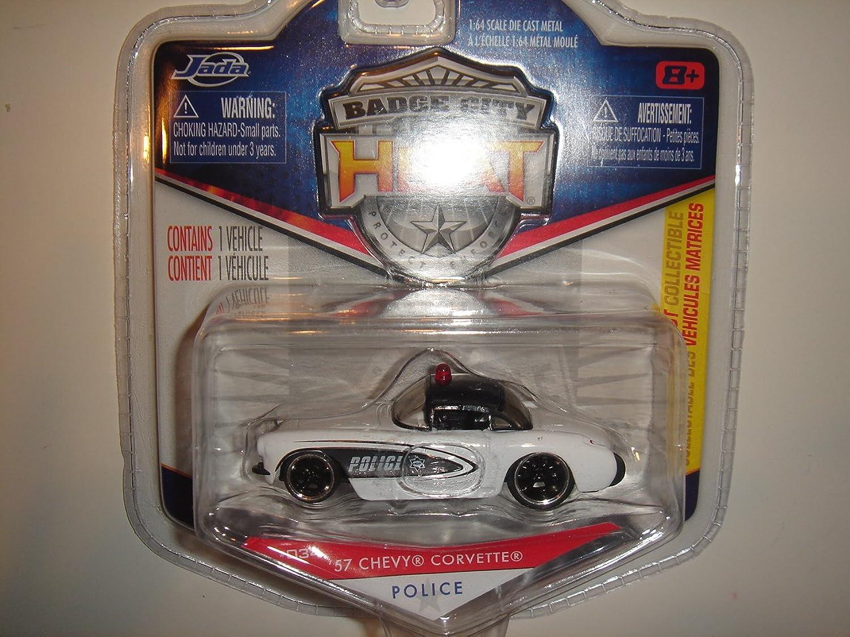2011 Jada Wave 3 Badge City Heat '57 Chevy Corvette Police Weiß schwarz  034