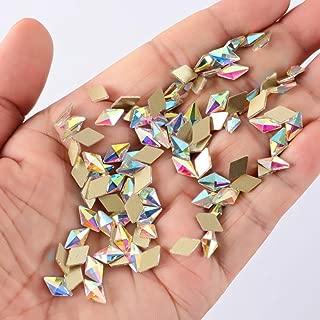 100pcs Ultra Sparkle&Shine AB Crystal Bead Rhombus Shapes Gold FlatBack Rhinestones Gems Pearls for 3D Nail Art Beauty Design Makeup DIY Crafts Painting-LONG LASTING AB SHINE Like Swarovski