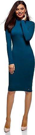 oodji Ultra Mujer Vestido de Punto con Cuello Mao