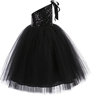 One-Shoulder Sequin Tutu Flower Girl Dress Wedding Pageant Dresses Ball Gown Tutu Dresses 182