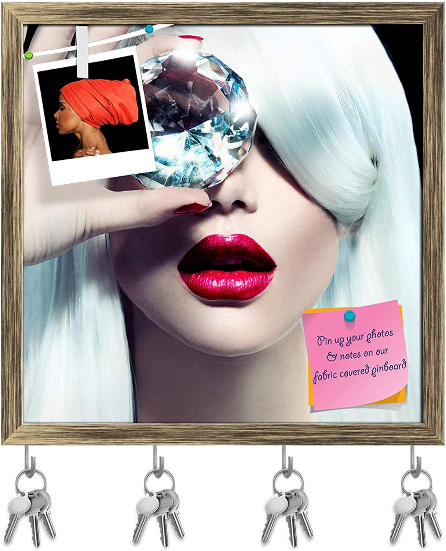 Artzfolio Model Girl with A Big Diamond Key Holder Hooks   Notice Pin Board   Antique golden Frame 16 X 16Inch