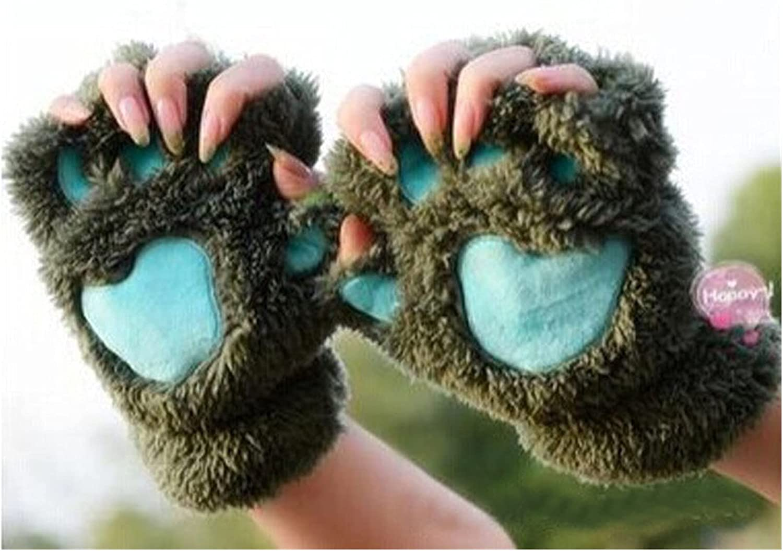 JSJJAWS Winter Gloves Gloves Lovely Women Warm Winter Mitten Plush Glove Costume Half Finger Soft Gloves for Girls (Color : Army Green)