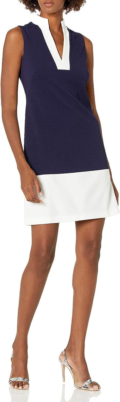 Eliza J Women's Sleeveless Framed Split Mandarin Collar Shift Dress