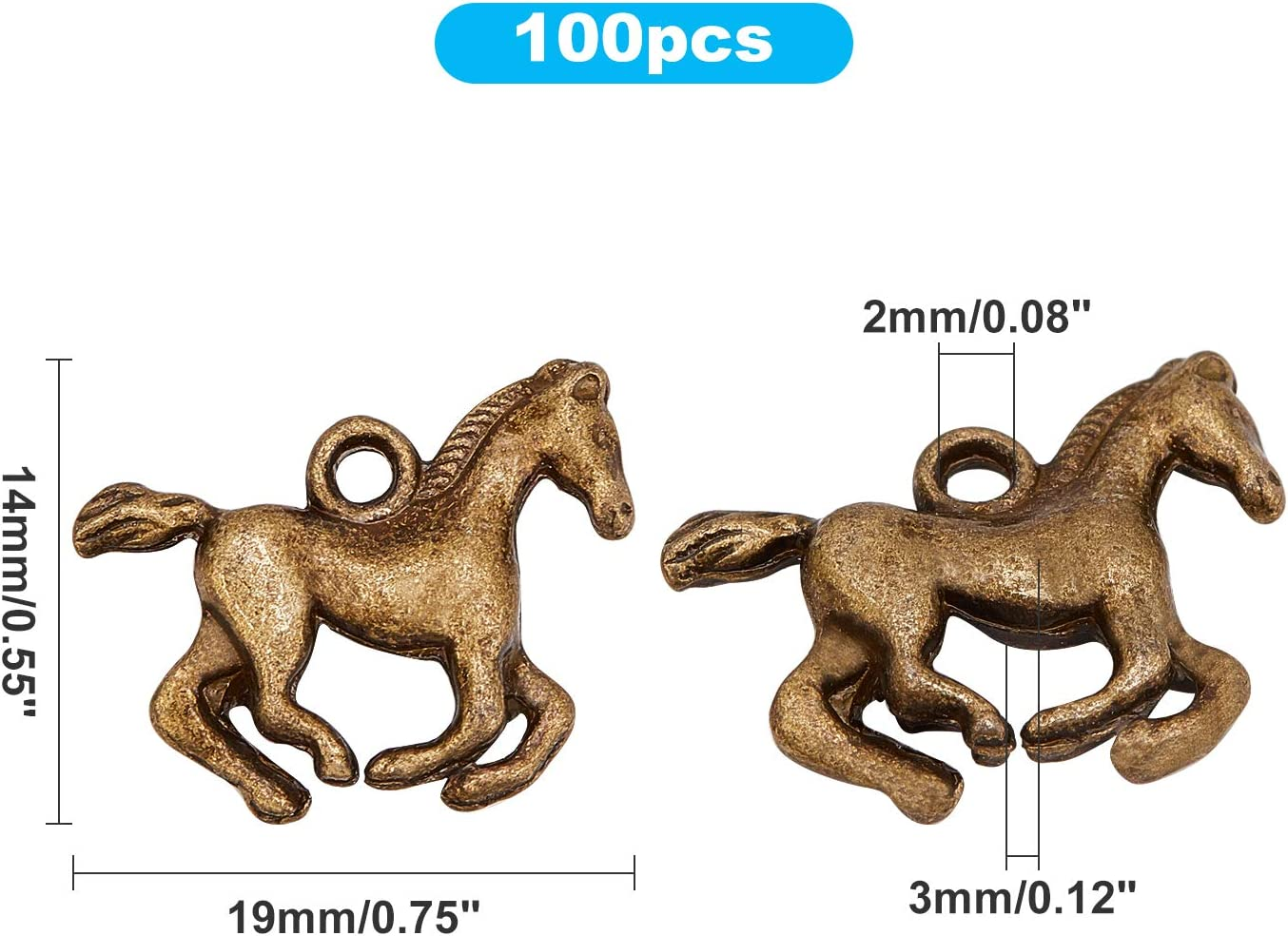 pulseras collares PandaHall 100 abalorios de caballo galopante de aleaci/ón tibetana con dise/ño de caballo ecuestre para manualidades bronce antiguo joyer/ía pendientes