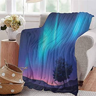 Luoiaax Fantasy Commercial Grade Printed Blanket The Aurora Borealis with A Tree in Arctic Region Magical Rare Sky Up View Print Queen King W70 x L70 Inch Blue Purple