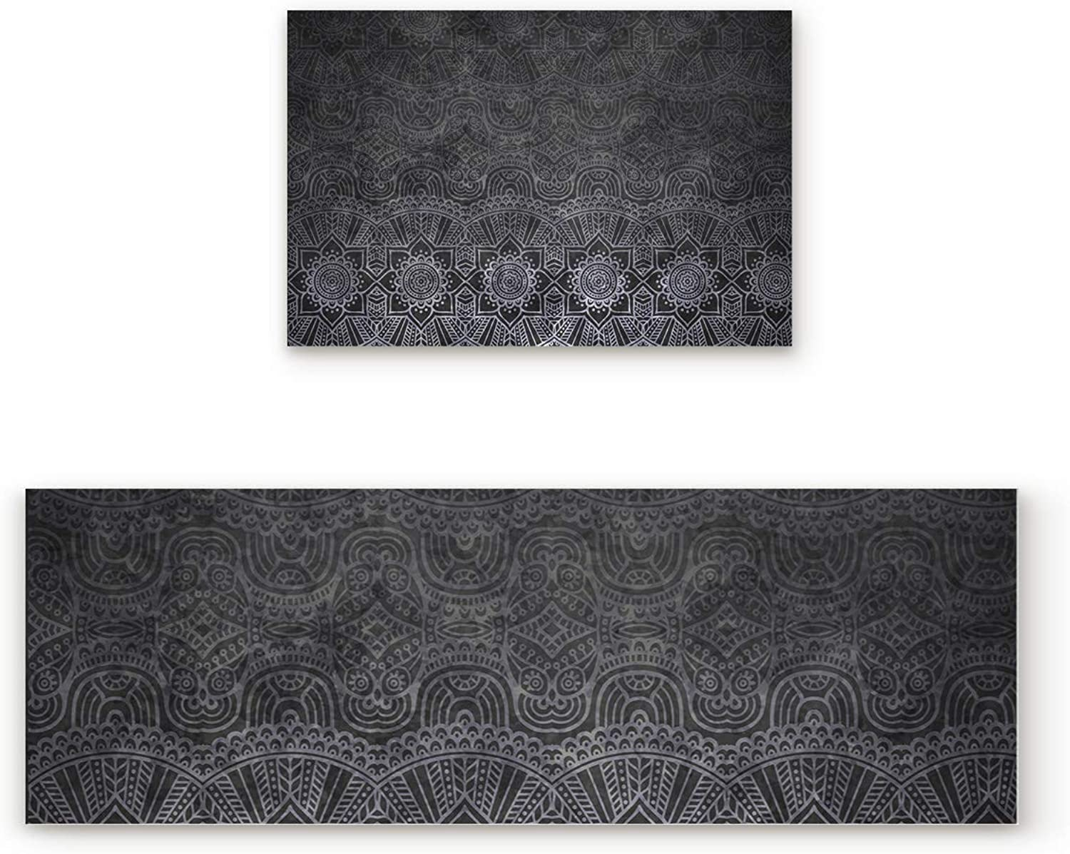 Aomike 2 Piece Non-Slip Kitchen Mat Rubber Backing Doormat Indian Mandala Black Floral Pattern Runner Rug Set, Hallway Living Room Balcony Bathroom Carpet Sets (23.6  x 35.4 +23.6  x 70.9 )