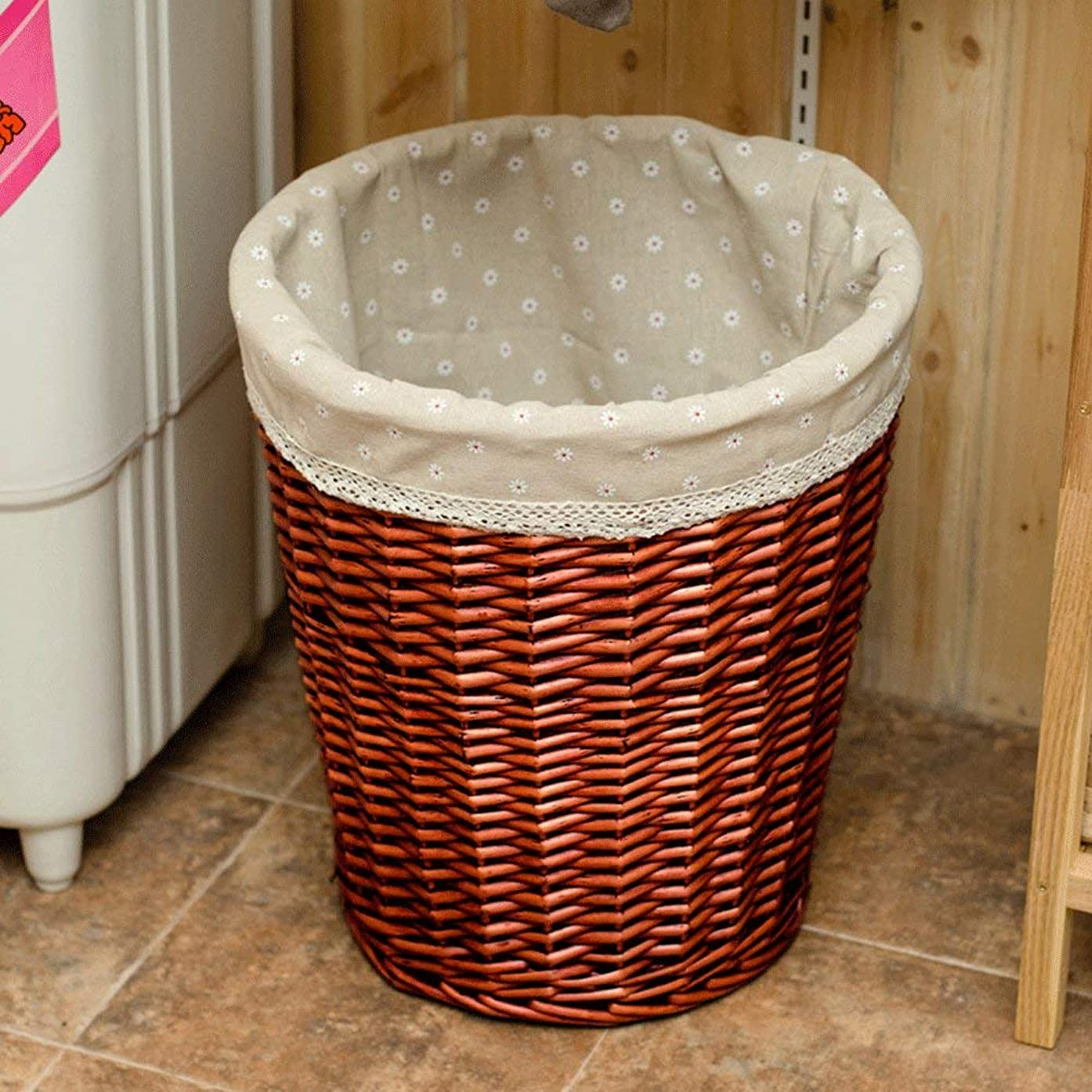 WEIFAN Dirty Hamper - Rattan uncovered Laundry Basket, Clothes Dirty Clothes Household Bathroom Storage Basket Toy Bucket(Medium 5)