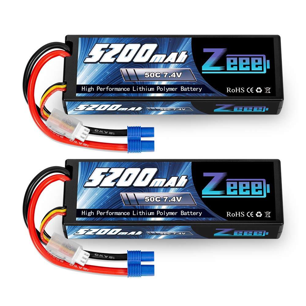 2 Baterias LIPO 7.4v 5200mah 50C 2S Ec3 Plug Zeee