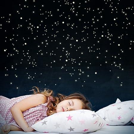 WANDKINGS 261 Leuchtpunkte für Sternenhimmel, extra Starke Leuchtkraft, Wandsticker Leuchtaufkleber, Fluoreszierend und im Dunkeln Leuchtend