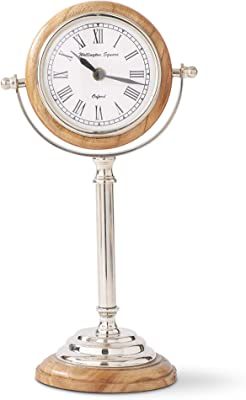 K&K Interiors 16929E-BR 13 Inch Wood & Silver Round Tabletop Clock on Pedestal, Brown