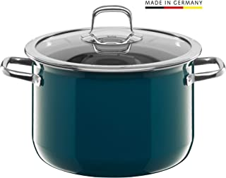 Silit Compact Kochtopf groß, 24 cm, mit Glasdeckel Olla para carne (5,9 l, apta para inducción, apilable), color azul petróleo, Silargan
