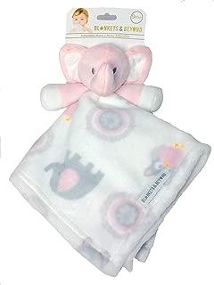Blankets and Beyond Baby Plush Elephant Security Blanket Pink White Grey Nunu
