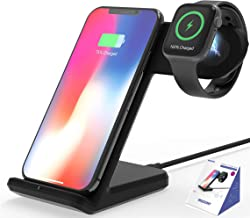Wireless Charger,MQOUNY 2 in1 in 1 Wireless Charger Stand,Charging Station Compatible with iWatch Series 4/3/2/1,Fast Wireless Charger Compatible with iPhone 8/X/XR,Samsung S10 All Qi Phones (Black)