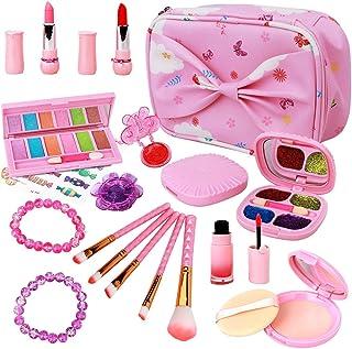 Kids Make Up Kit for Girls - 20 Pcs Real Makeup Palette Set - My First Makeup Bag Washable Girls Makeup Toys Gift for Todd...