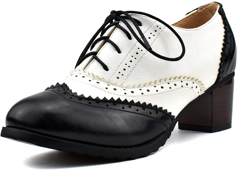 100FIXEO Women Block Heel depot Wingtip Oxford Shoes Vintage New popularity Up Lace C