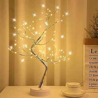 Arbol LED Decorativo, Lámpara de Mesita de Decoración con 108 Luces, Alambre de Cobre Ajustable, Decoración del Hogar, Nav...