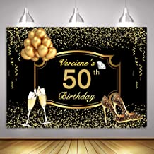 MME 10x7Ft Gold 50th Birthday Photography Backdrop VIP Custom Large Size Seamless Photo Booth Props HXME680