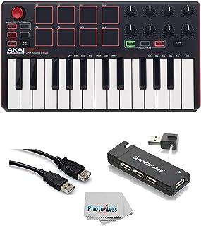 Akai Professional MPK MINI MK2 MKII | 25-Key Ultra-Portable USB MIDI Drum Pad & Keyboard Controller (Red/Black)+ 4-Port USB 2.0 Hub + High Speed USB Extension Cable