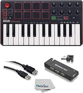 Akai Professional MPK MINI MK2 MKII | 25-Key Ultra-Portable USB MIDI Drum Pad & Keyboard Controller (Red/Black)+ 4-Port USB 2.0 Hub + High Speed USB Extension Cable + Clean Cloth