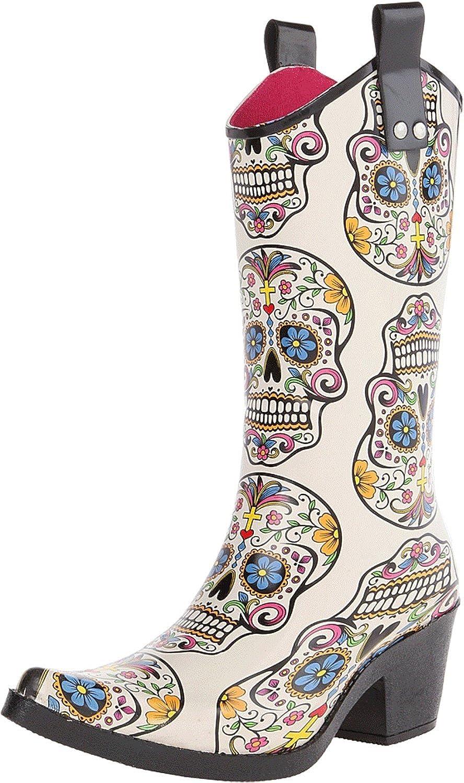 Blazin Roxx 58104-11 Ladies Roxy Sugar Skull Snip Toe Rain Boots, Multi color - Size 11