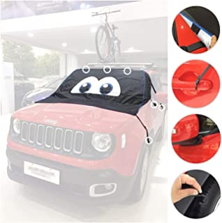 buyinhouse Universal Windshield Sun Shade Car Cover, Magnetic Waterproof Frost Protector Universal All Weather Sun Ice and Snow Cover Cartoon Big Eyes Design