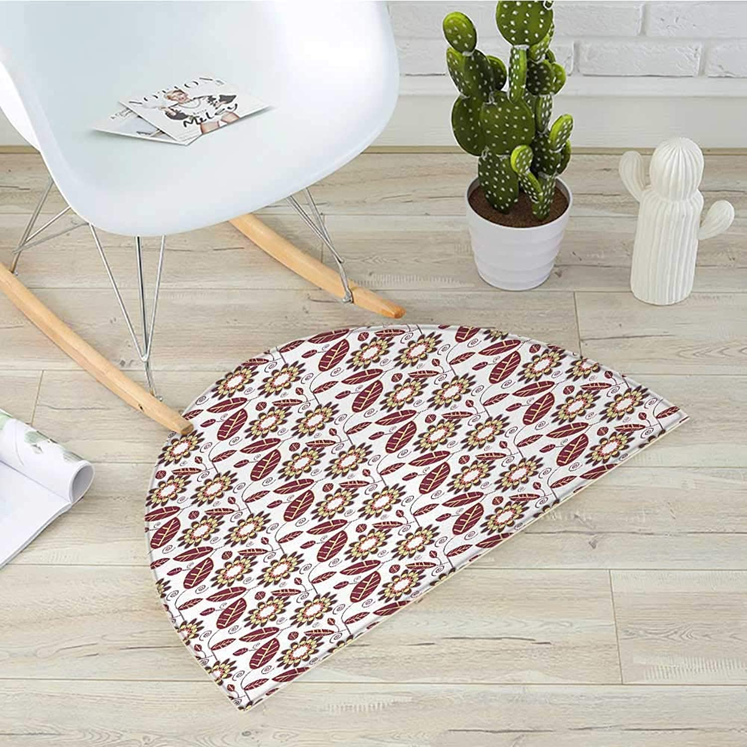 Floral Semicircle Doormat Abstract Leafage with Geometric Flowers Spirals and Curved Stripes Halfmoon doormats H 43.3  xD 64.9  Maroon Coral Pale Yellow
