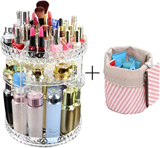 SuTon Large Capacity Makeup Organizer - 360° Rotating/Revolving Adjustable Cosmetic Storage and Makeup Organizer (360°Rotating, Clear)