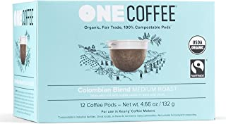OneCoffee Organic Colombian Blend 12 Count Single Serve Coffee 100% Compostable K Cup for Keurig Machines