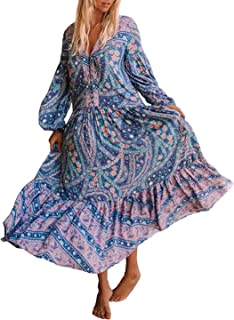 Womens's Cotton Long Sleeve Vintage Floral Bohemian Beach V Neck Bottons Casual Maxi Dresses