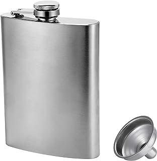 Hillside-Kit Hip Flask for Liquor 8 Oz Stainless Steel Leak proof with Funnel Flask set men flask women flask set (Silver)
