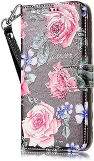 JanCalm LG K20 Plus Wallet Case [Kickstand Feature] [Card Slots/Side Pocket] [Wrist strap] PU Leather Wallet Magnetic Flip Folio Cover for LG K20 Plus/LG K20 V/LG Harmony + Crystal Pen (Black/Flower)