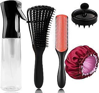 5 PCS Hair Spray Bottle Set with Detangler Brush Combs,9-Row Styling Brush,Scalp Massager Brush,Satin Sleep Bonnet,Continu...