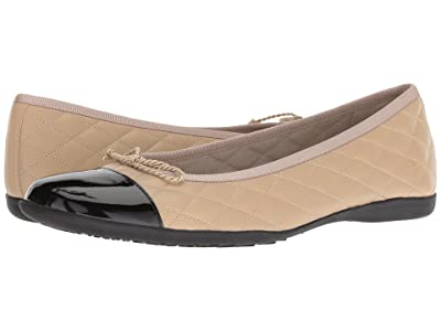 French Sole PassportR Flat (Black Patent/Beige Leather) Women