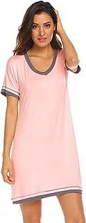 Women's Nightdress V Neck Short Sleeve Nightshirt Casual Loose Soft Cotton Home T-Shirt Dress Nightwear Nightgowns Jersey ...