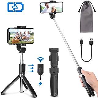 PEYOU Palo Selfie Trípode para Móvil, [ Recargable ] Palo Selfie con Control Remoto Bluetooth, Mini Selfie Stick Compatible para iPhone XS MAX XR 8 Plus, Compatible para Samsung Huawei Xiaomi
