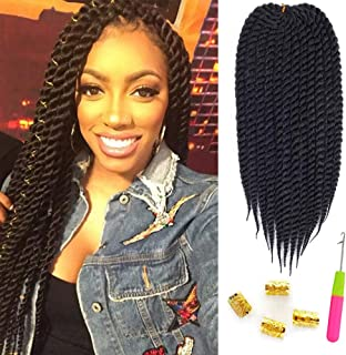 "Mirra's Mirror 6Packs 22"" Havana Twist Crochet Hair Mambo Twist Senegalese Crochet Braids Braiding Hair 100gram 12 roots/Pack (22inch, 1B)"
