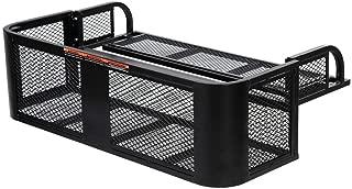 Goplus ATV/UTV Rear Drop Basket, Universal Cargo Basket w/Steel Mesh Surface, Detachable Steel Luggage Cargo Rack (Black)
