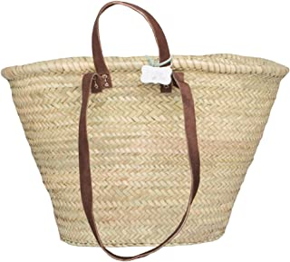 French Style Basket with long and short leather handles: Sasha