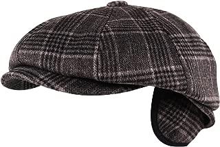 Luxury Brushed Wool Flannel 8 Panel Flat Cap Hat Ear Flap Baker Boy Tweed Check Grey