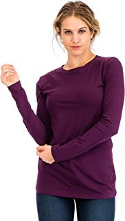 NANAVA Casual Cotton Crew Neck Long Sleeve T-Shirt Top Dark Plum 2X