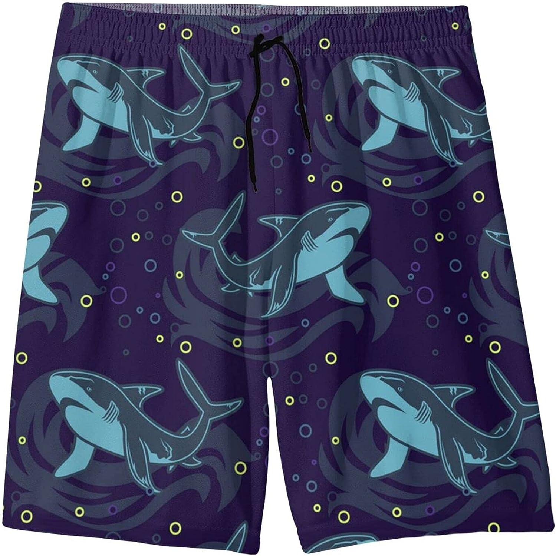 Shark Boys Swim Trunks, Quick Dry Swim Shorts Board Shorts for Boys 7-20t