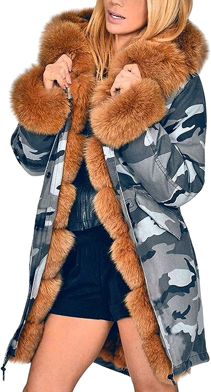 Womens Winter Warm Fox Faux Fur Coat Jacket Long Sleeve Zip Up Camo Parka Overcoat Outwear with Pockets