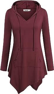 Uneven Hemline Hoody Shirt Kangaroo Pocket Tunic Long Sleeve Casual Tops