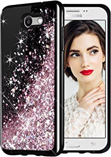 Galaxy J7 2017 Case, Caka Starry Night Series Bling Glitter Flowing Floating Luxury Liquid Sparkle Soft TPU Case for Samsung Galaxy J7 Sky Pro Prime J7 V J7 Perx Halo 2017(AT T) (Rose Gold)