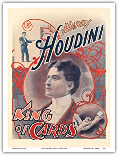 Harry Houdini - King of Cards - Vintage Magic Poster c.1895 - Master Art Print - 9in x 12in